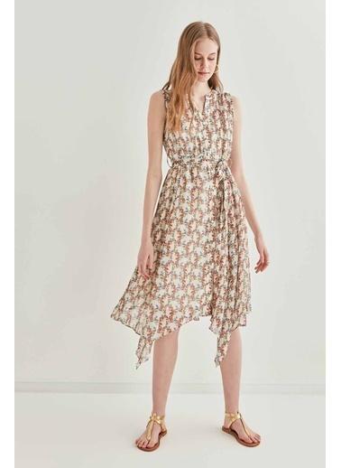 Vitrin VİTRİN Sıfır Kol Belden Bağcıklı Elbise Ekru